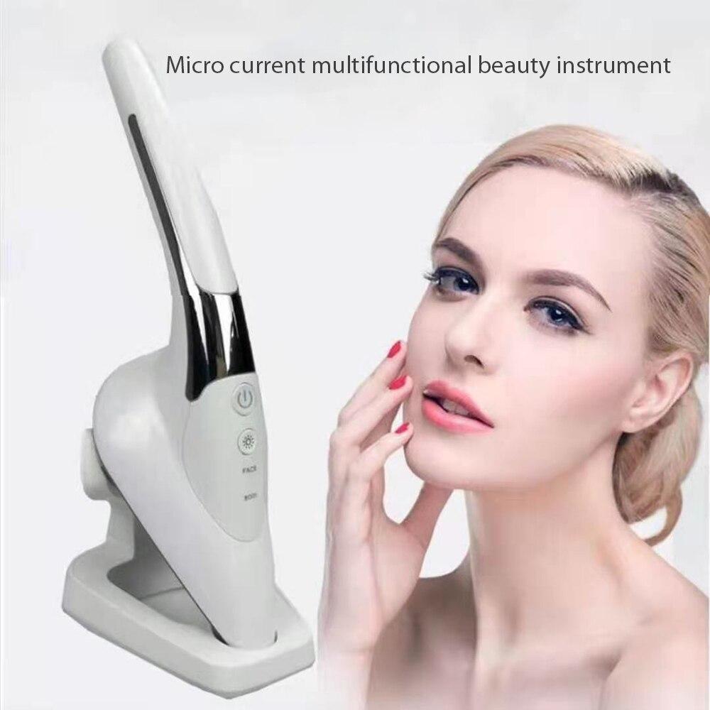 مكركرنت تهتز مدلك الجلد الحديد الحرارة أيون الرقبة الجسم جهاز إزالة التجاعيد LED الفوتون الوجه رفع تشديد الجمال الرعاية أداة