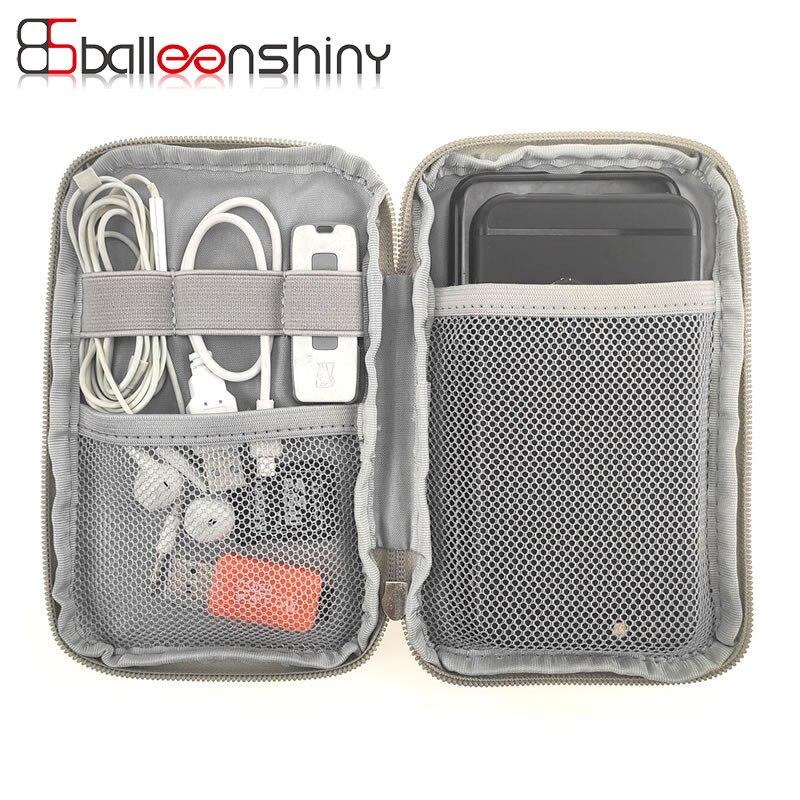 Bolsa de almacenamiento de energía portátil BalleenShiny, Cable Digital, almacenaje para cables de datos, bolsa para auriculares, organizador de viaje al aire libre
