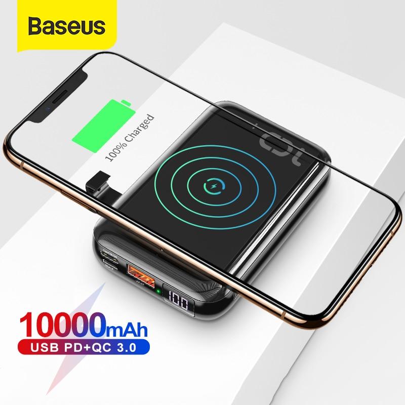 Baseus 10000mAh تشى شاحن لاسلكي قوة البنك USB PD شحن سريع Powerbank شاحن بطارية محمولة خارجية للهاتف