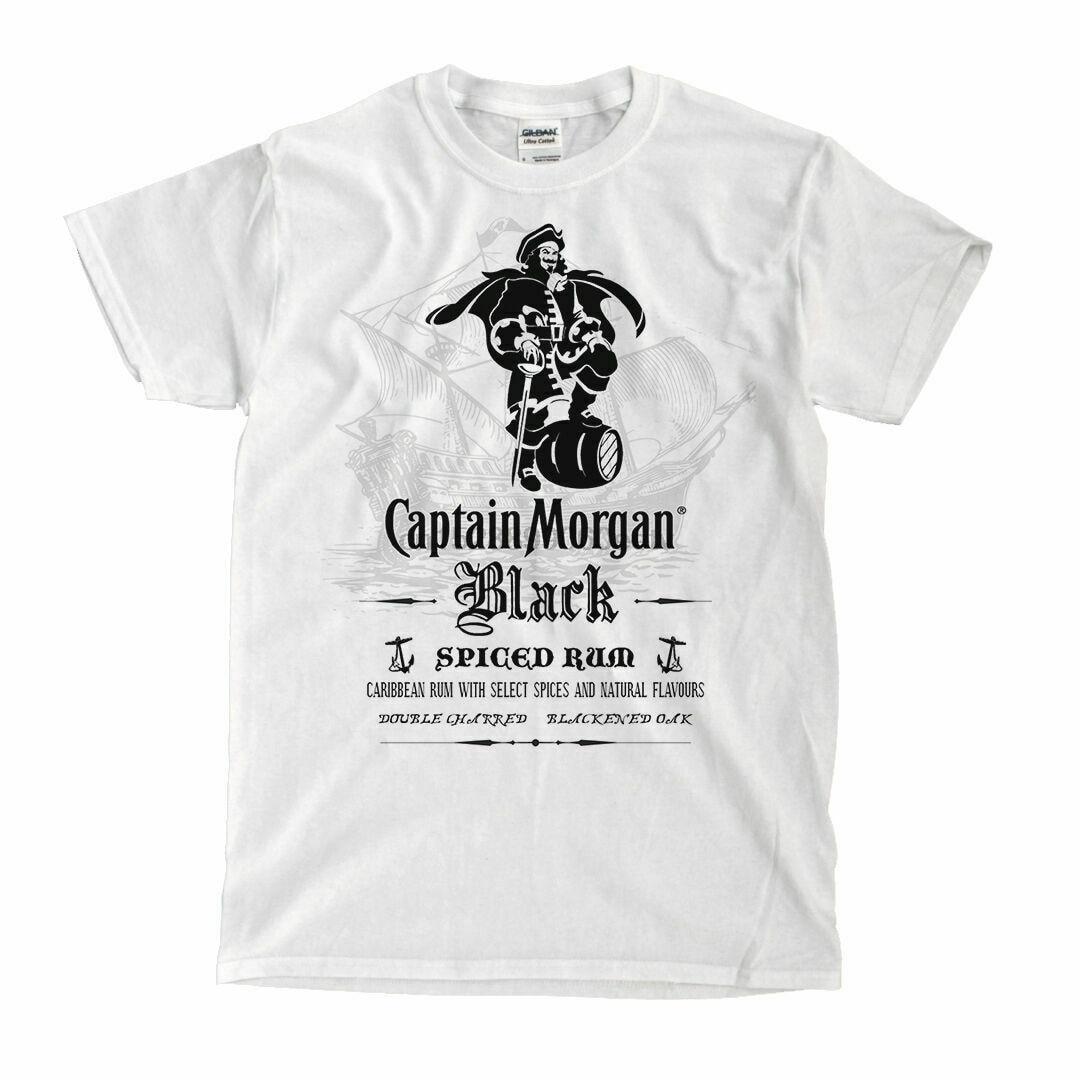 NEU Captain Morgan Black Rum White T-Shirt - Ships Fast! High Quality!