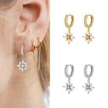 Exquisite Flower Crystal Pendant 925 Silver CZ Hoop Earrings Popular Fashion Earrings for Women Eleg