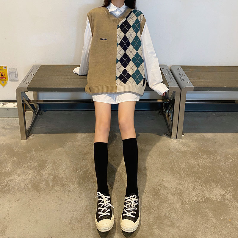 autumn 2020 vest sweater women preppy style v neck plaid patchwork knitted vest sweaters women (X1632)