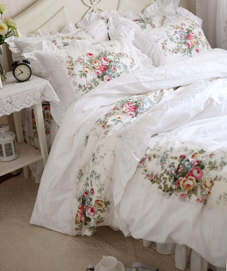 Juego de ropa de cama de algodón blanco de boda princesa dulce estilo europeo pintura al óleo elegante verde flor rústico Floral funda Nórdica