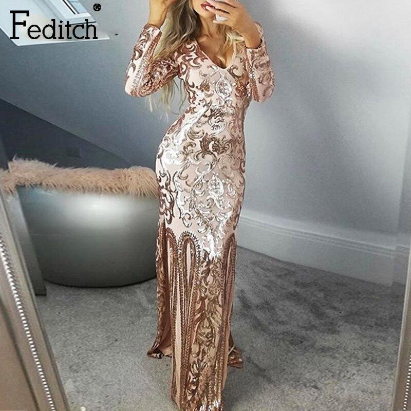Feditch vestido de envoltura de lentejuelas cuello en V de alta pierna abierta vaina fiesta nocturna Maxi vestido elástico oro Sexy Vestidos para Club largo
