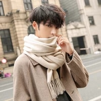 winter wool scarf men luxury brand beige shawls and wraps classical bufanda hombre 2021 autumn outdoor warm wool scarves male
