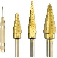 titanium step drill bit set 3pcs high speed steel step drill bit set with center punch tower drill bit set