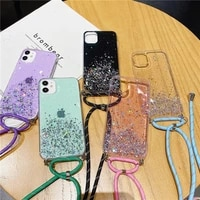 glitter crossbody strap lanyard case for samsung galaxy a12 a22 a32 a42 a52 a72 a82 a02 f62 4g 5g necklace silicone cover coque