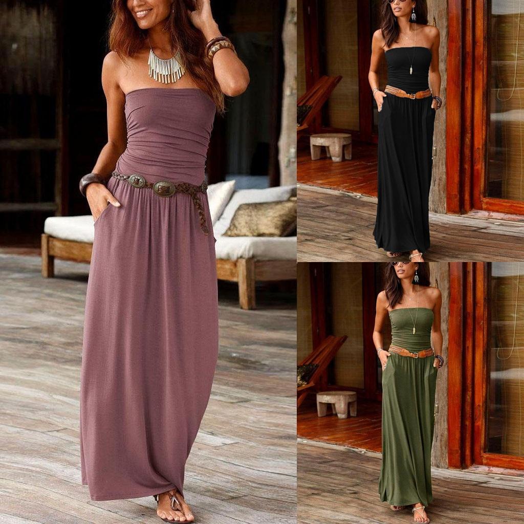 Vestido de las mujeres Top Bandeau vacaciones hombro larga Vestido Mujer novedad de verano moda sólido vestido Vestidos traje de mujer