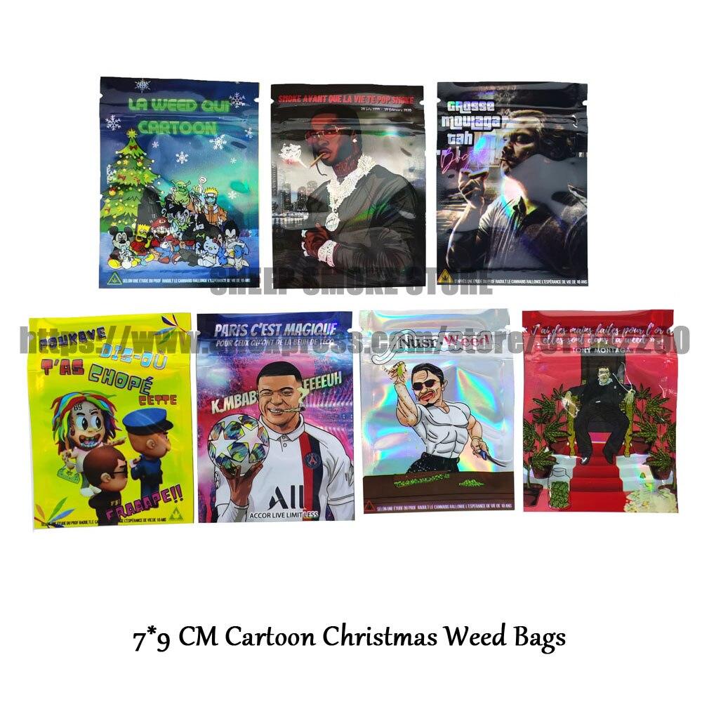 2021 Cartoon Christmas Tobacco Bags Food Package Print Bags Zip Lock With Window Plastic Package Cus