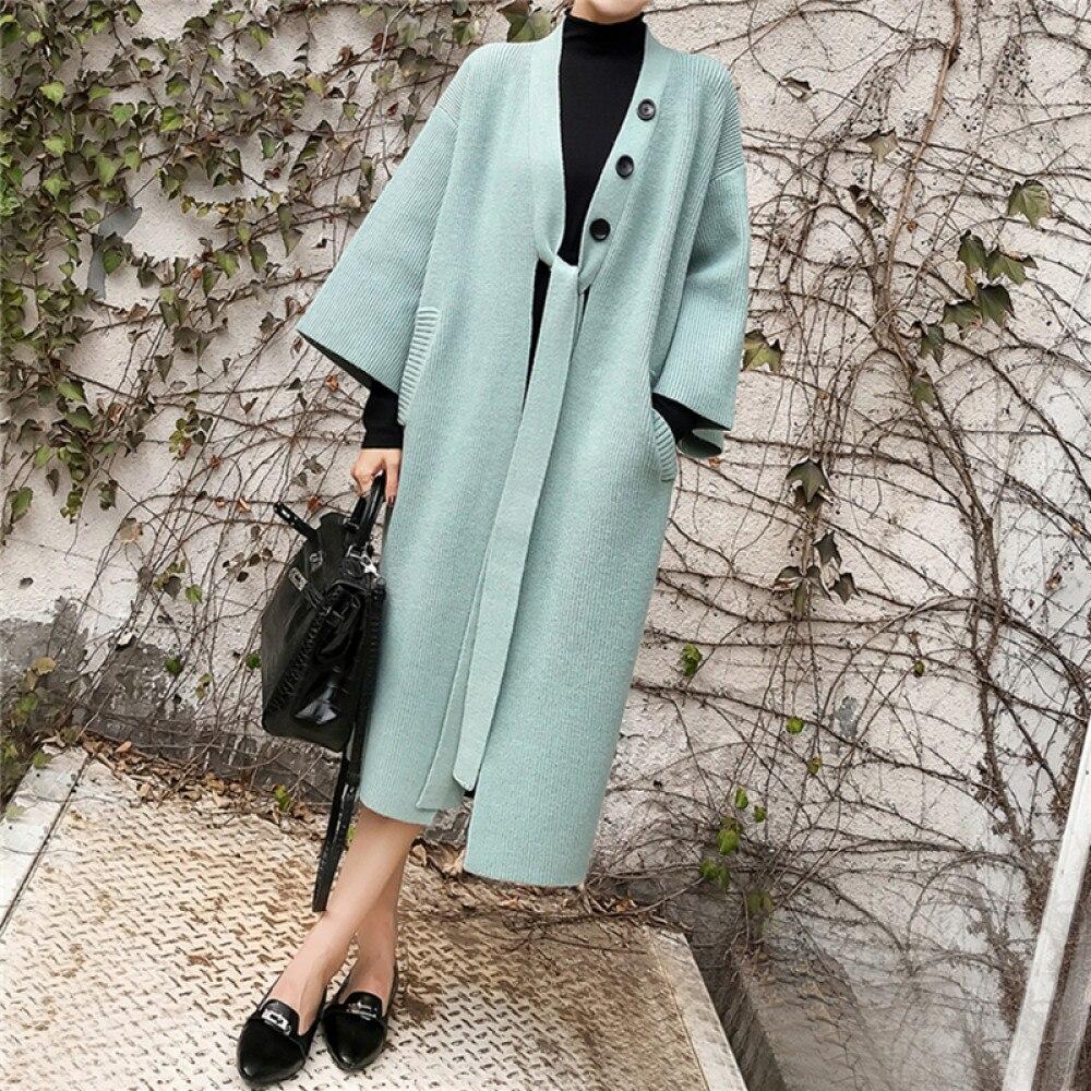 Colorfaith-معطف نسائي طويل غير رسمي على الطراز الكوري SWC8281 ، سترة محبوكة دافئة ، مجموعة خريف وشتاء 2021