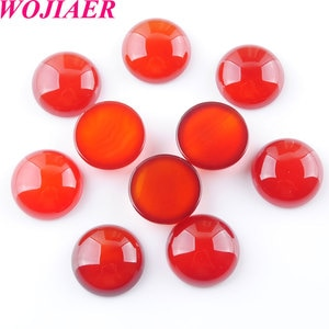 WOJIAER Natural Red Agates Gem Stones Round Cabochon CAB No Drill Hole 16x6mm Jewelry Making 50PCS PU8233