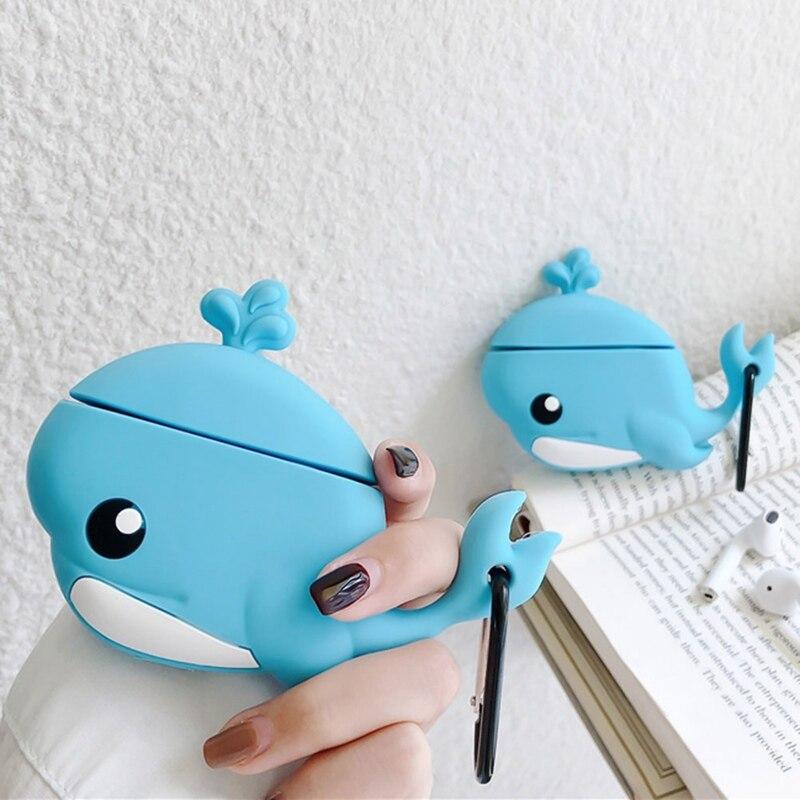 Baleia bonito Dos Desenhos Animados Conjunto de Fone De Ouvido Para A Apple Airpods Kawaii Conjunto de Fone De Ouvido Para Airpod2 3D Baleia Azul