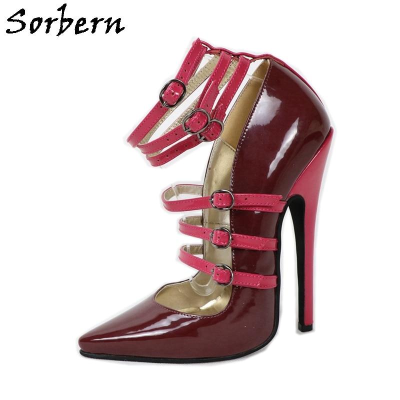 Sorbern النبيذ الأحمر النساء حذاء بكعب 16 سنتيمتر خنجر عالية الكعب أشار أصابع مخصص 16 سنتيمتر 14 سنتيمتر موضوع رقيقة الأشرطة crossخلع الملابس الكعوب