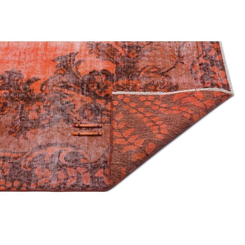 Naranja hecha a mano Vintage alfombra de área turca sobreteñida 200x300 Cm-6 7X910