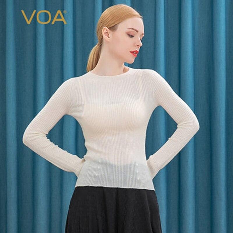 VOA puro de la Cachemira suave 60-cuenta lana una pieza hueco punto cuenca collar trompeta manga simple suéter de Cachemira de RB1093