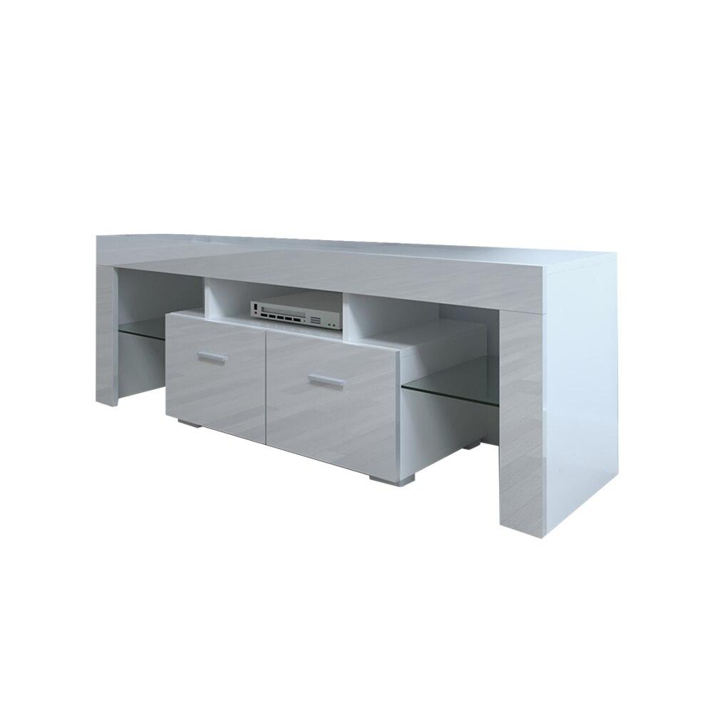 130x35x45 سنتيمتر نهاية الجدول طاولة شاي طاولة القهوة ديكور منزلي LED خزانة التلفزيون مع اثنين من الأدراج الأبيض