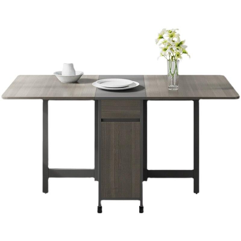 Mesa de comedor plegable para apartamento pequeño nórdico, 1,2/1,5 M, mesa de comedor Rectangular móvil telescópica multifunción