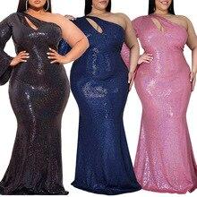 Echoine Plus Size Bridesmaid Dress Sloping Shoulder Long Sleeve Skinny Vestidos Retro Bodycon Dresse