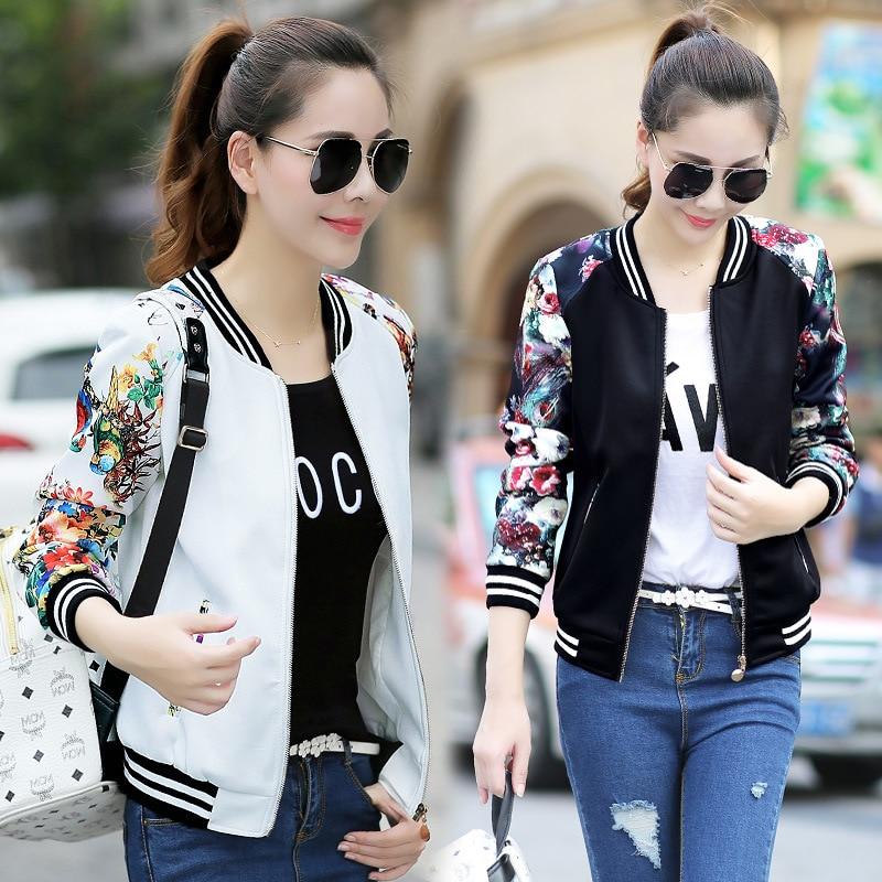New 2021 Fashion Summer Women's Bomber Print Jacket Long Sleeve Basic Jacket Coats Women Casual Thin