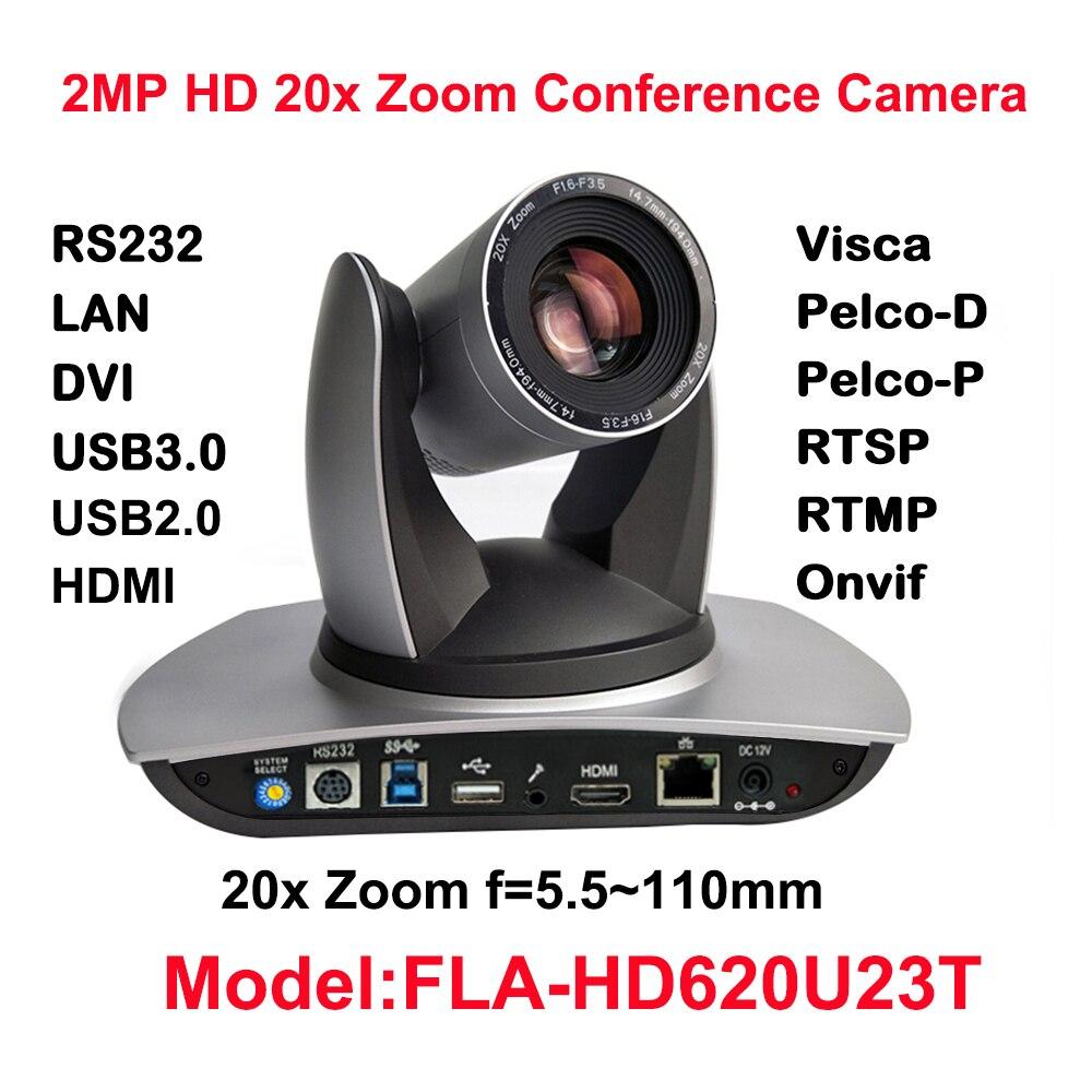 2MP Volle HD Indoor PTZ Kamera 20x Optischer Zoom, 1920x1080 bei 60fps, USB2.0, USB3.0, HDMI, IP Streaming, Audio-in, 54,7 grad FOV