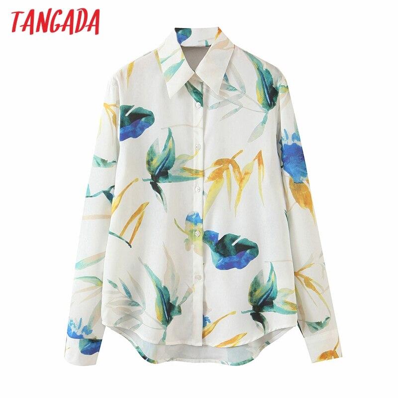 Tangada 2020 herbst frauen übergroßen floral print bluse langarm chic weibliche beiläufige lose hemd blusas femininas 5T1