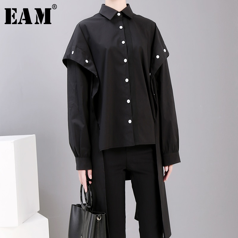 [EAM] camisa holgada de manga larga con botones en la espalda con abertura en la espalda, blusa larga de talla grande con solapa nueva, moda Primavera otoño 2020 JG72501