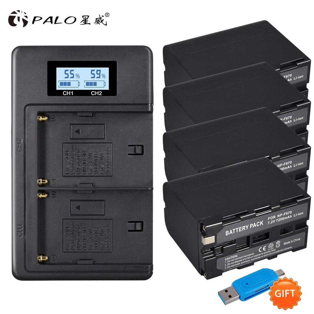 4 pçs 7.2 v 7200 mah NP-F960 f970 bateria de exibição energia + display digital lcd carregador duplo para sony f970 f960 f770 f570 CCD-RV100