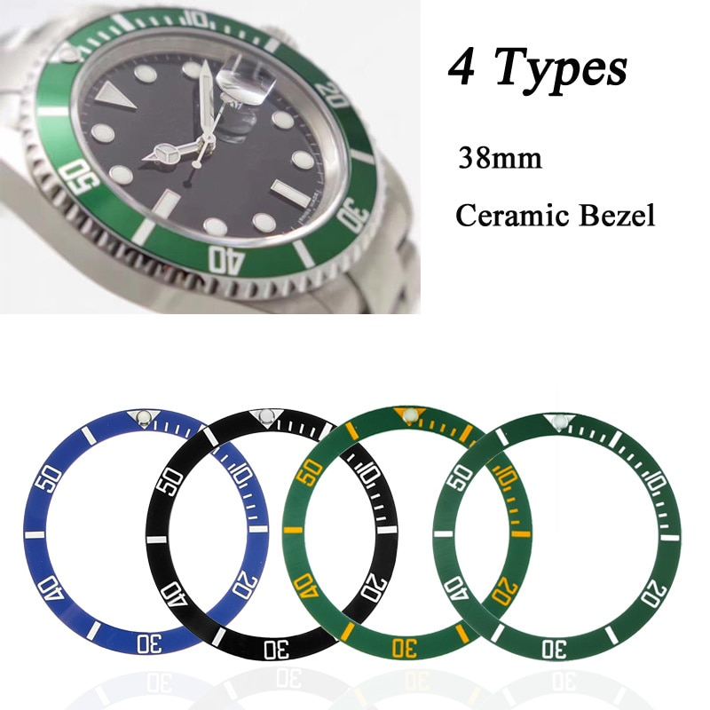 38mm Watch Face Ceramic Bezel Insert For 40mm Submariner Automatic Mens Watches Replace Accessories