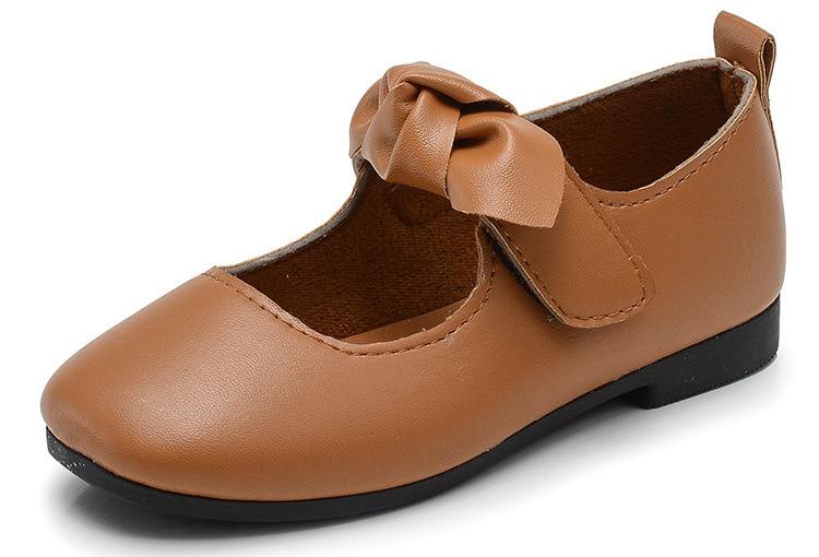 Zapatos de moda para chicas agradable Arco-Nudo zapatos de cuero suave transpirable ligero niños pisos precio barato lindo Drop Shipping