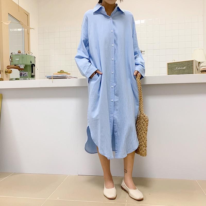 Long Blouse Women Turn Down Collar Autumn Cotton Linen Shirts Vintage Harajuku Pocket Casual Tops Plus Size Long Sleeve V748