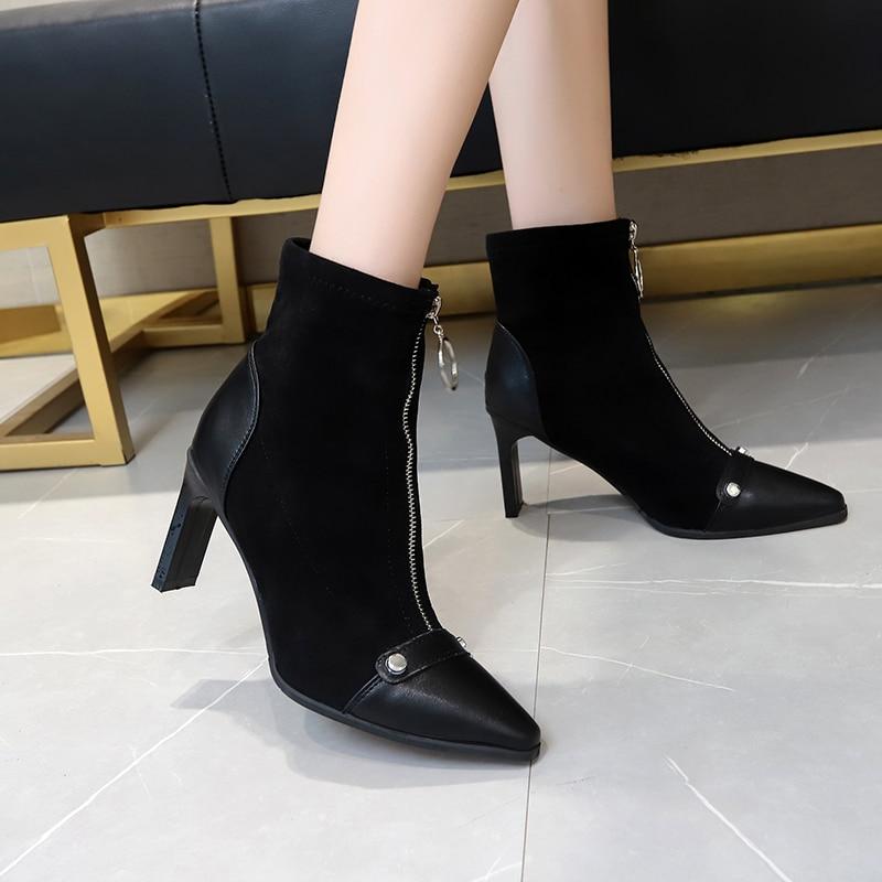 Botines 2019 zapatos de mujer zapatos de marca de diseño de charol Pu puntiagudos finos tacones altos con cremallera frontal botas Chelsea