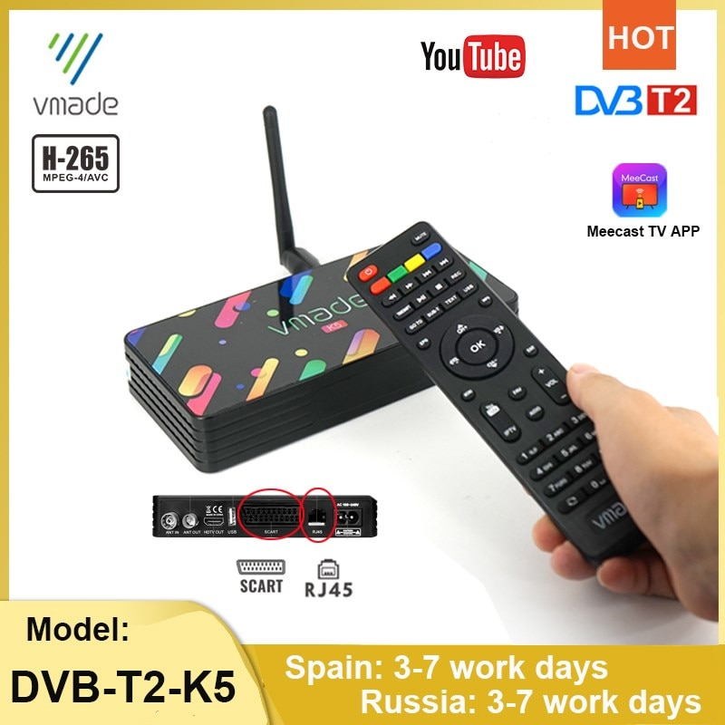 DVB-T2 H.265/HEVC decoder HD tuner digital set-top box T2 full 1080P TV receiver support MeeCast M3U Youtube terrestrial TV box недорого