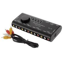 Divisor de sinal distribuidor portátil estável abs tv dvd 4 em 1 para fora anti interferência fácil aplicar casa áudio vídeo caixa interruptor