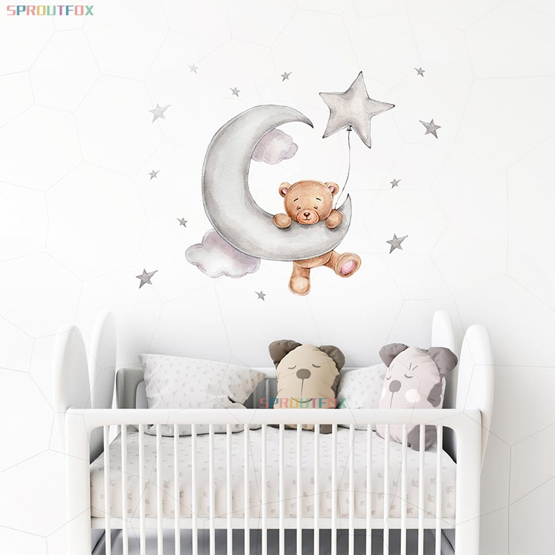 Cute Bear Hanging on the Moon Kids Wall Stickers for Baby Rooms Boys Bedroom Animals Bear Sticker Home Decoration