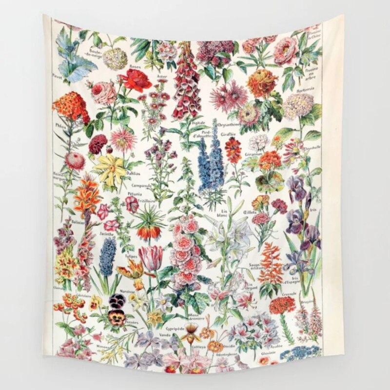 Adolphe Millot Fleurs Gießen Tous Französisch Vintage Poster Tapisserie Wand Hängen Wandteppiche Bettdecke Vorhang Decke Blatt Handtuch