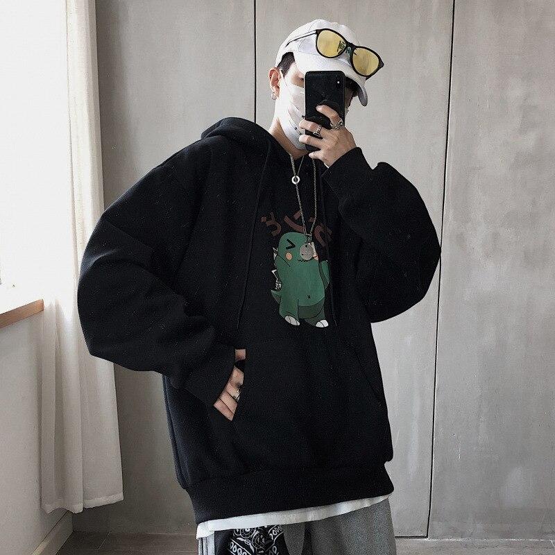 Harajuku Men Dinosaur Print Hoodie Sweatshirts Spring Autumn Man Anime Loose Plus Size Casual Hooden Pullovers Japan Streetwears
