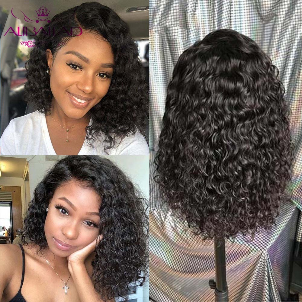 Short Bob Lace Front Human Hair Wigs With Baby Hair Peruvian Remy Water Wave Blunt Cut Bob Wig 150% 4x4 Lace Closure Bob Wig