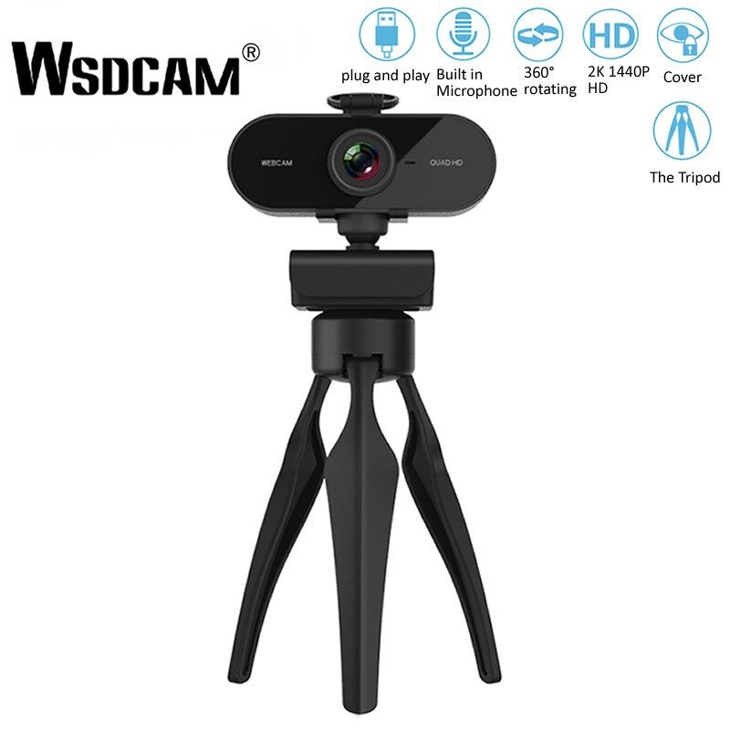 كاميرا ويب عالية الدقة 2K 1440P مع ميكروفون وقابس USB وكاميرا ويب للكمبيوتر الشخصي وماك والكمبيوتر المحمول وسطح المكتب ويوتيوب و Skype