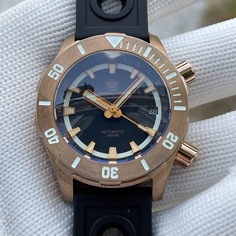 ساعة غوص للرجال طراز 2021 SD1950S مصنوعة من البرونز الصلب مزودة بزرين تصميم فريد من نوعه 3000 متر مقاومة للمياه في أعماق البحار