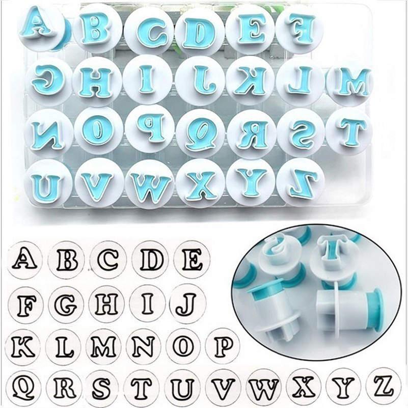 26 шт Верхние и прописные и строчные буквы алфавита буквенный Плунжер для сахарной мастики резцы пластиковые печенья