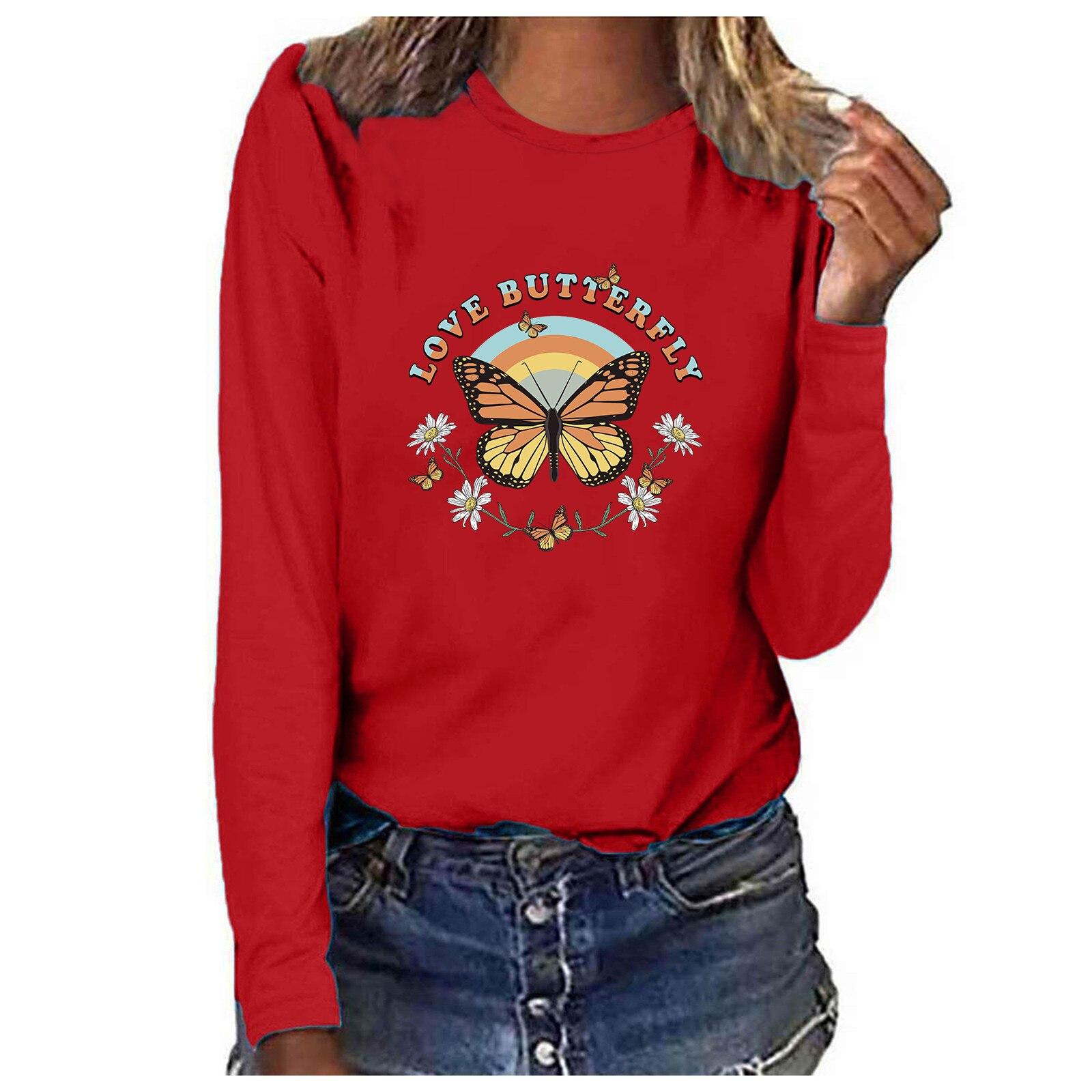 Blusa informal De manga larga con cuello redondo para verano, camisa femenina...