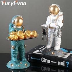 Yuryfvna nordic criativo astronauta estatueta porta chave de armazenamento bandeja decorativa ornamentos desktop casa sala estar decorações