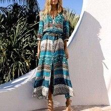 5XL femmes Boho robe imprimé Maxi Dess col en v demi manches bouton fendu robes été automne bohême robes Vestidos grande taille