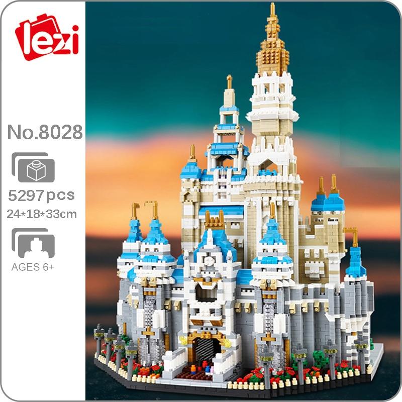 Lezi 8028 World Architecture Amusement Park Big Dream Castle 3D DIY Mini Diamond Blocks Bricks Build