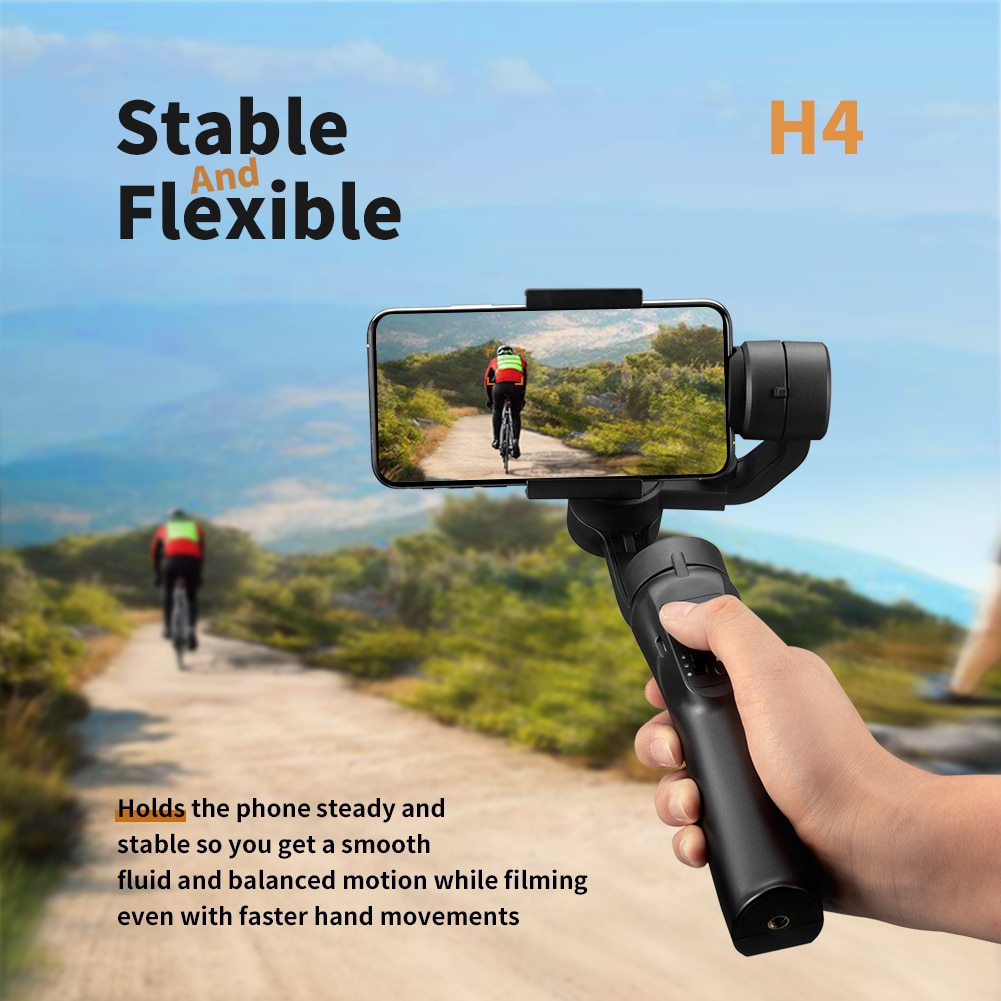 H4 teléfono inteligente suave estabilizador H4 soporte de mano Gimbal estabilizador para iPhone XS XR X 8Plus 8 7P 7 Samsung y Cámara de Acción