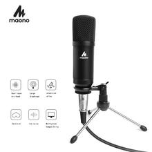 Micrófono Podcast condensador MAONO de 3,5mm micrófono para ordenador cardioide con soporte de trípode para YouTube Grabación de radiodifusión por Skype A03TR