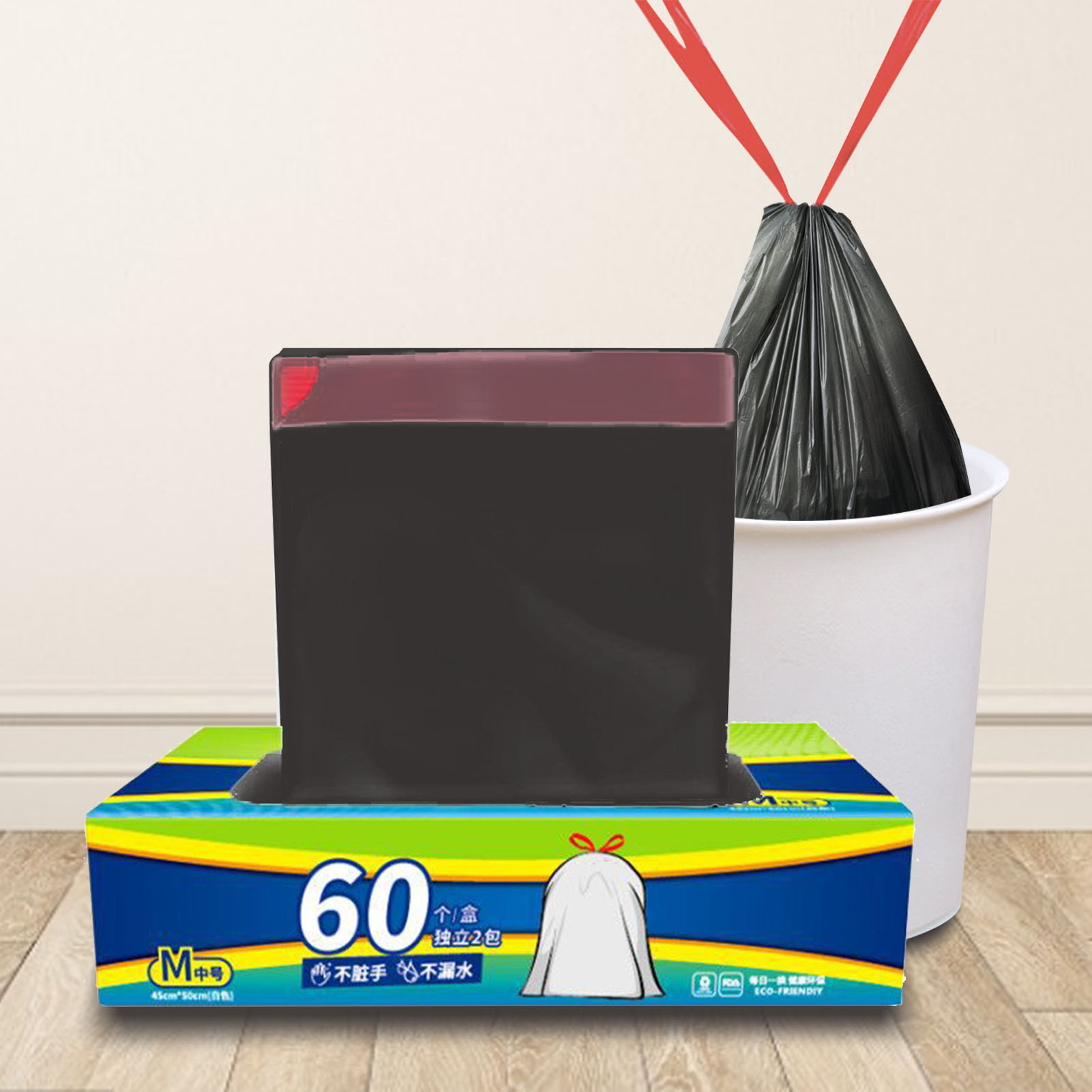 60Pcs/Box 45X50CM Garbage Bag High-quality Thickened Garbage Bin Can Be Bundled Garbage Bag Household Daily Use enlarge