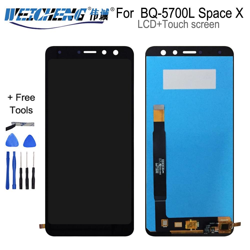 5.7 bbbq display lcd móvel para bq BQ-5700L espaço x bq 5700l display lcd de vidro da tela toque digitador sensor conjunto completo ferramentas