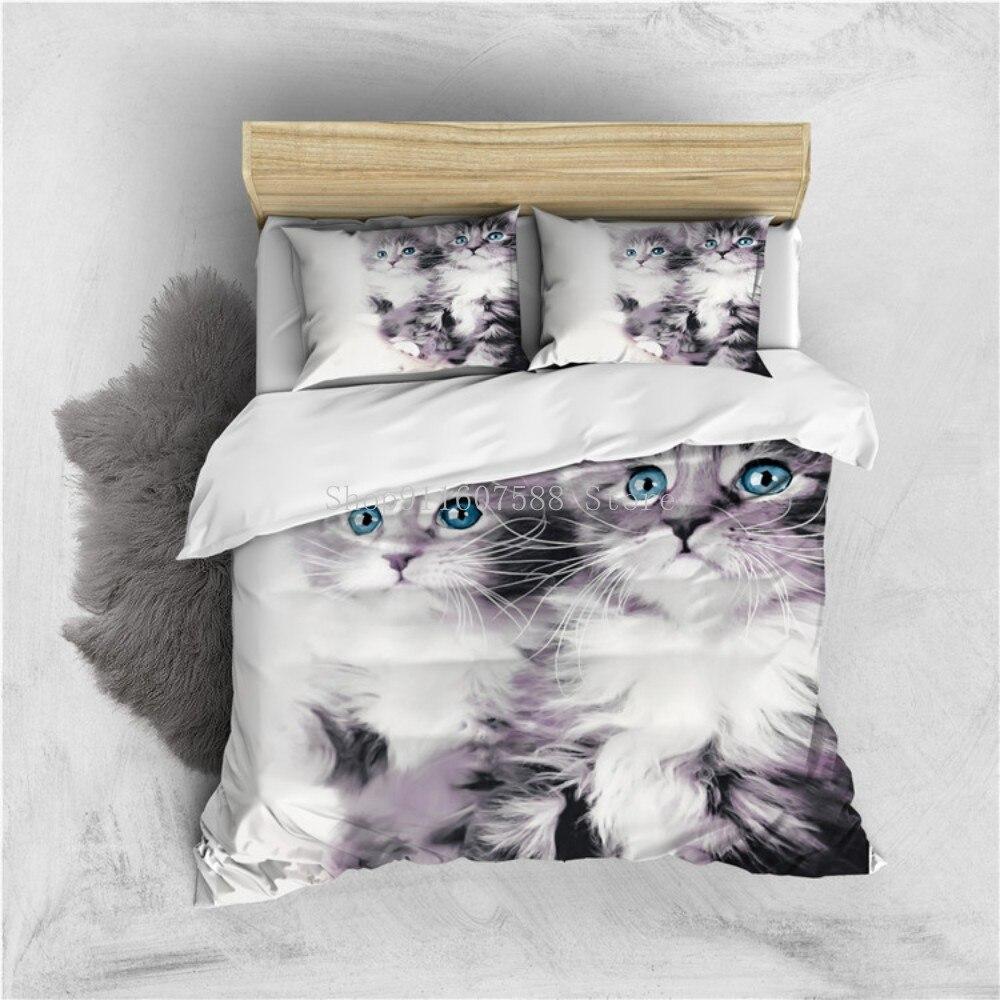 ثلاثية الأبعاد رمادي الفراش تصميم الحيوان طقم أغطية لحاف ليوبارد القط الحصان المعزي يغطي و Pillow كامل التوأم مزدوجة الملك الحجم