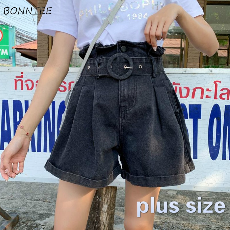 Shorts Women Plus Size 5XL with Sashes Wide Leg Retro Korean Style Harajuku Casual Loose Fashion Hot Sale Leisure Vintage Womens